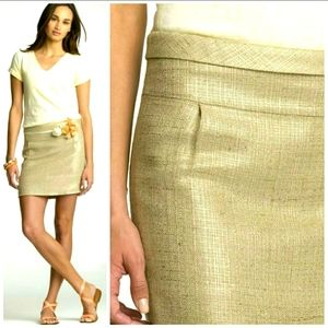 "J.Crew TWEED Beige & Gold ""Mica"" Mini Skirt Size 6"